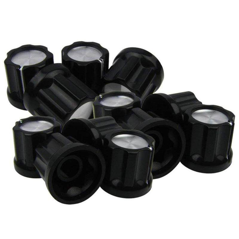 D-Type Shaft Guitar Bass Pot Knobs Amp Knobs Buttons Caps, Black With Silver Top, Pack Of 12 Malaysia