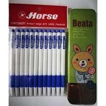 ปากกาลูกลื่น ตราม้า 0.7 มม. สีน้ำเงิน แถมฟรี กล่องดินสอ