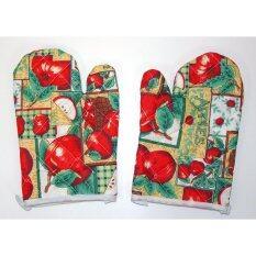 ถุงมือกันความร้อน ถุงมือเตาอบ ถุงมือไมโครเวฟ ลายผลไม้แอบเปิ้ลแบบ 1  จำนวน 1 คู่.