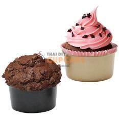 ถ้วยอบมัฟฟิน คัพเค้ก ขนมปังทรงกลม สำหรับอบ 1 ชิ้น สีดำ ขนาด 8 ซม. สูง 4 ซม. By Thai Diy Cupcake.