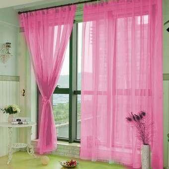 1x2 เมตรสี PURE Voile ม่านหน้าต่างตาข่ายหน้าต่างประตูห้องม่านระเบียงของตกแต่งแยกสีชมพู-