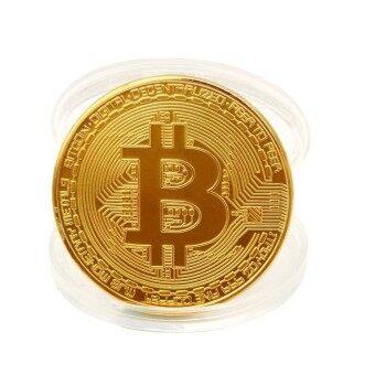 1 x Gold Plated Bitcoin Coin Collectible Gift BTC Coin Art Collection Physical - intl