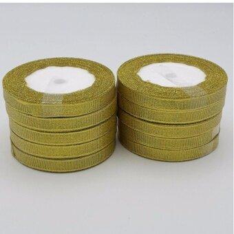 ริบบิ้น ริบบิ้นทรายทอง ริบบิ้นสำหรับทำดอกไม้ประดิษฐ์ ทำโบ ห่อของขวัญ จำนวน10ม้วน สีทอง