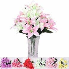 ทบทวน 10Nผู้นำใหม่ลิลลี่ช่อดอกไม้ประดิษฐ์ผ้าสำหรับการตกแต่งบ้านดอกไม้งานแต่งงานสีชมพู