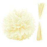 ขาย 10 Pcs Solid Color Paper Pom Poms Flower Ball For Wedding Party Home Festival Birthday Decoration Off White จีน