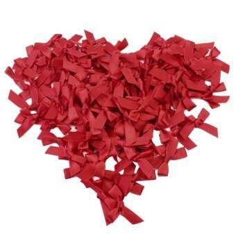 100 ชิ้นสีแดงซาตินริบบิ้นโบว์สำหรับสมุดทำบัตรงานฝีมือตกแต่ง DIY - นานาชาติ-
