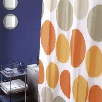 ม่านห้องน้ำเนื้อผ้าไนล่อน 100% WSP - พิมพ์ลายวงกลมสีส้ม ขนาด180x180cm
