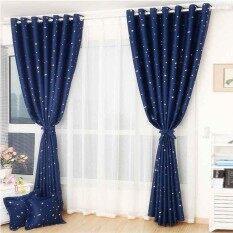 ขาย 100 130Cm Sheer Panel Silver Star Printing Blockout Eyelet Curtain Intl ออนไลน์ ใน จีน