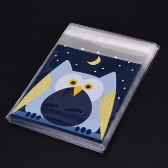100PCS Cute Animals Candy Cake Packaging Bags Self-adhesive Gifts Bags Party Owl 7cm*7cm+3cm - intl