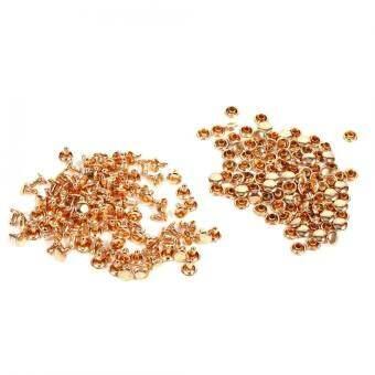 duoqiao   100 ชุด 8x8 มิลลิเมตรสองหมวกหมุดย้ำโลหะซ่อมเครื่องหนังหนังกระดุมเสื้อเข็มตกแต่ง 3 สี - นานาชาติ(Gold)
