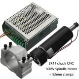 ขาย 100 โวลต์ Dc Er11 Cnc 500 วัตต์มอเตอร์ทำความเย็นแบบแกนหมุน 52 มิลลิเมตร Clamps ผู้ควบคุมความเร็ว ถูก จีน