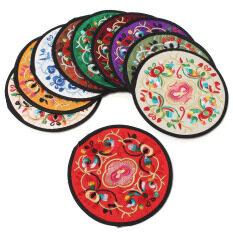 ราคา 10Pcs Ethnic Coaster Embroidered Floral Cup Drinks Holder Mat Tableware Placemat Intl เป็นต้นฉบับ