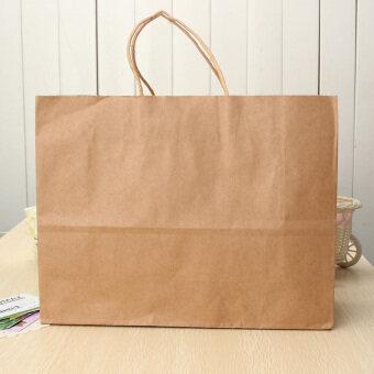 10 ชิ้นกระดาษคราฟท์สีน้ำตาลที่จับบิดช้อปปิ้งของขวัญสินค้ากระดาษกระเป๋าขายปลีกขนาดใหญ่-นานาชาติ