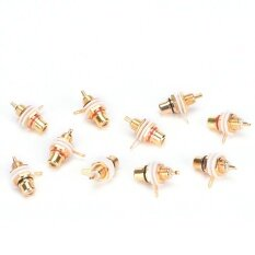 ราคา 10Pcs Rca Female Chassis Panel Mount Jack Socket Connector 24K Gold Plated Intl ออนไลน์ จีน