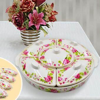 สำรับเมลามีนใส่อาหารลายดอกไม้ชมพู 11 ชิ้น/ชุด