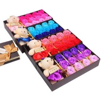 12 / Box Romantic Rose Soap Flower And Bear Birthday Valentine'S Day Gift - intl
