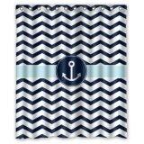 ซื้อ 152X183Cmผ้าม่านห้องน้ำลายแฉกแนวสีฟ้าและขาวรูปการเดินเรือ Anchor 100 Polyester Unbranded Generic ถูก