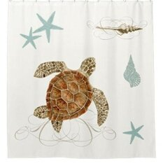 ทบทวน 152X183Cm Sea Life Cartoon Turtle Starfish Shells Waterproof Fabric Polyester Bathroom Shower Curtain Intl Unbranded Generic