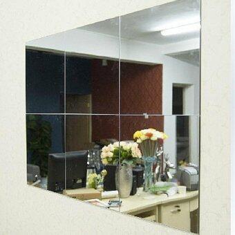 สติกเกอร์กระจกเงาติดผนังห้องน้ำ ทรงสี่เหลี่ยม แบบถอดออกได้ จำนวน 16 ชิ้น
