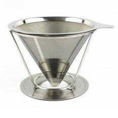 ถ้วยกรองกาแฟแบบสแตนเลส ไม่ต้องใช้กระดาษ ใช้ซ้ำได้ มีด้ามจับ ไม่มีซิลิโคน 1 ถ้วย เป็นต้นฉบับ