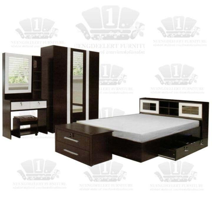 1deelert ชุดห้องนอน 5-6 ฟุต (เตียง+ตู้เสื้อผ้า+โต๊ะแป้ง) รุ่น DD( B140) - สีโอ๊ก/ขาว