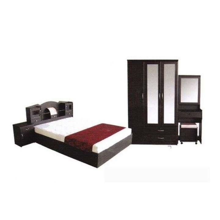 โปรโมชั่น 1deelert ชุดห้องนอน D3 ขนาด 5 ฟุต (เตียง + ตู้เสื้อผ้า 3 บาน + โต๊ะแป้ง + ตู้ข้างเตียง ฟรีที่นอนสปริง ) (สีโอ๊ก)