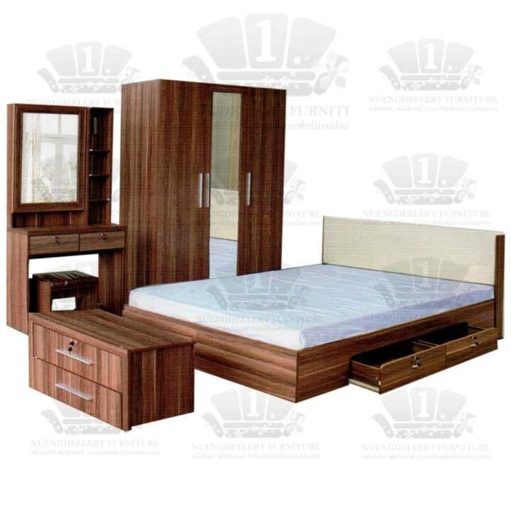 รีวิว 1deelert ชุดห้องนอน 5-6ฟุต (เตียง+ตู้เสื้อผ้า+โต๊ะแป้ง) รุ่น Milano(B143) – สีwalnut *เลือกขนาดและสีได้*
