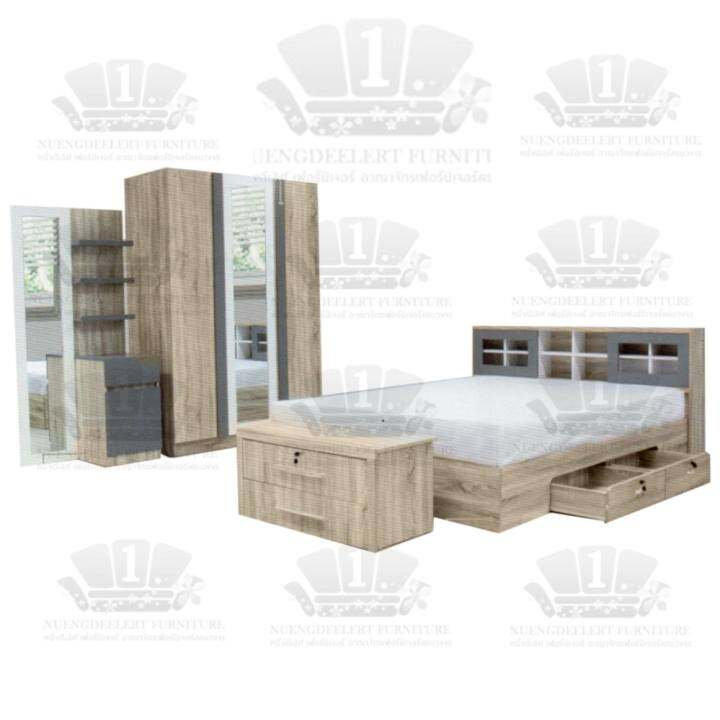 ซื้อที่ไหน 1deelert ชุดห้องนอน 5-6 ฟุต รุ่น Contemp (เตียง+ตู้เสื้อผ้า+โต๊ะแป้ง) -สี premium solid