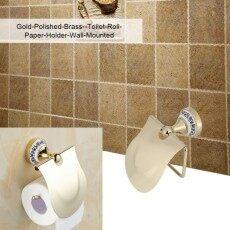1 ชิ้นขัดโถส้วมห้องน้ำม้วนที่ยึดกระดาษ Rack กระดาษชำระติดพนัง (ทอง