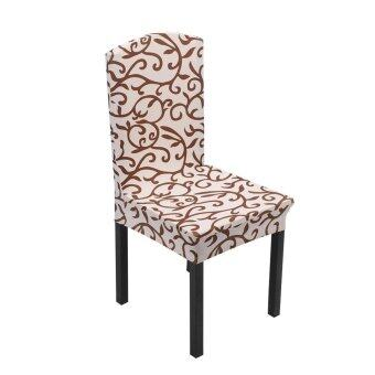 1x Removable Stretch Chair Covers Champagne/กาแฟ
