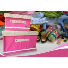 ราคา กล่องผ้า กล่องเก็บอเนกประสงค์ 2 กล่อง สีชมพูเข้ม ใหม่ ถูก