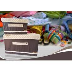ซื้อ กล่องผ้า กล่องเก็บอเนกประสงค์ 2 กล่อง สีน้ำตาล ใหม่ล่าสุด