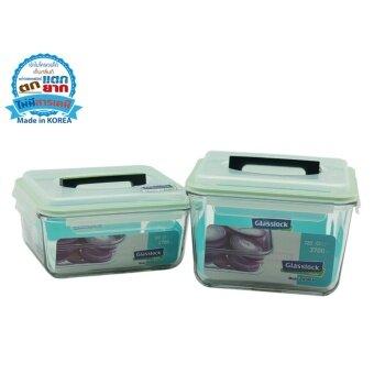 ชุดกล่องแก้วปลอดสารเคมี 2 ใบ ทรงผืนผ้ามีหูหิ้ว ความจุรวม 6400 ml.
