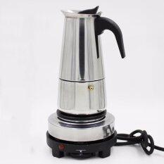 ทบทวน 2 Cup 100Ml Stainless Steel Electric Moka Stovetop Espresso Maker Latte Percolator Stove Top Italian Coffee Maker Pot Intl Unbranded Generic