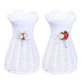 ขาย 2 Pcs Plastic White Braided Texture Flower Decoration Vase ราคาถูกที่สุด