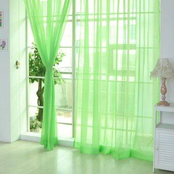 2ชิ้นผ้าม่านหน้าต่างผ้าม่านโปร่งพาป่านแอปเปิ้ลสีเขียว