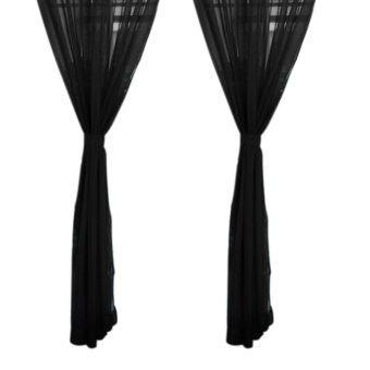 2ชิ้นผ้าม่านหน้าต่างผ้าม่านโปร่งพาป่านสีดำ-ระหว่างประเทศ