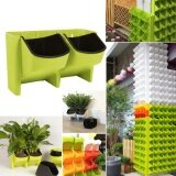 ส่วนลด สินค้า 2 Pocket Stackable Home Garden Wall Hanging Vertical Flower Pot Succulents Planter Green Intl