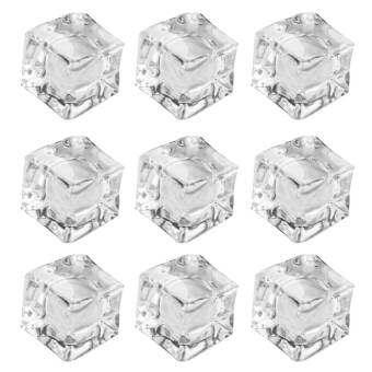 20 ชิ้นอะคริลิกเทียมก้อนน้ำแข็งสแควร์รูปร่างเครื่องมือจอแสดงผลสติ๊กเกอร์ตกแต่งอุปกรณ์เล่นเกมสำหรับ Home การถ่ายภาพอุปกรณ์ตกแต่งสำหรับถ่ายรูปเด็กทารก Bar CLEAR - INTL-