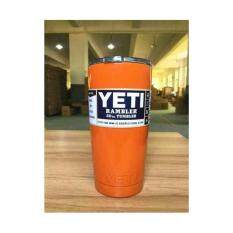 ราคา แก้วเก็บความเย็น แก้วเก็บร้อน เก็บน้ำแข็งได้นาน 24ชั่วโมง ขนาด 20 ออนซ์ สีส้ม เป็นต้นฉบับ Yeti Rambler