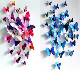 ราคา 24Pcs 3D Butterfly Wall Sticker Fridge Magnets Blue And Purple ใหม่ ถูก