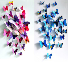 ส่วนลด 24Pcs 3D Butterfly Wall Sticker Fridge Magnets Blue And Purple Unbranded Generic