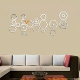 โปรโมชั่น 24Pcs Acrylic 3D Mirror Effect Wall Stickers Home Decor Vinyl Stickers Silver Intl จีน