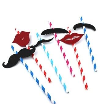 25 ชิ้นตลกเคราและริมฝีปากสีแดง Stripe Kraft หลอดดูดดื่มหลากสี