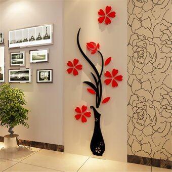 2ชิ้น 32ซม x 80ซม 3D แจกันดอกไม้พลัม Arcylic สติ๊กเกอร์ติดผนังห้องทางศิลปะการตกแต่งบ้านทีวีซ่อมนู่น - intl