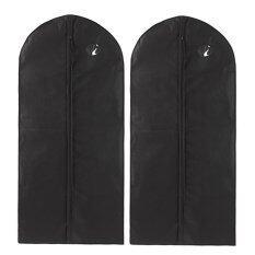 ขาย ซื้อ 2Pcs Home Travel Portable Thickened Garment Bags Clothes Dust Proof Cover Suits Storage Bags With Transparent Front Round Window Pocket For Coat Cotton Clothing Dress Jacket Clothing Storage Black Intl ใน จีน