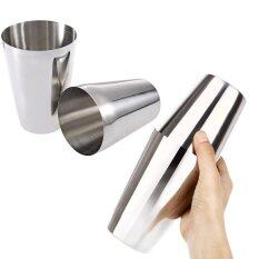 2Pcs Stainless Steel Boston Bartender Cocktail Shaker Silver Intl ถูก