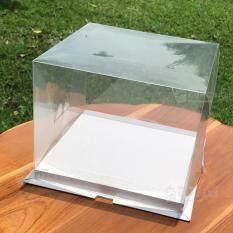 ขาย กล่องโชว์เค้ก สำหรับเค้ก 3 ปอนด์ 10 นิ้ว แบบใส ฐานขาว Pvc 1 กล่อง ฐาน 31X31 ซม สูง 17 ซม Thailand ถูก
