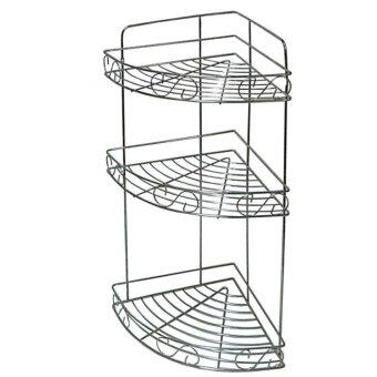 ชั้นวางของเข้ามุมแบบตั้งพื้นและแขวนสแตนเลสแท้ 3 ชั้น