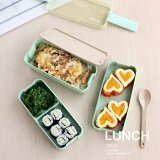 ซื้อ 3 Layer Japanese Slim Bento Lunch Box Food Container Lunchbox With Spoon Microwave Safe Bpa Free Intl